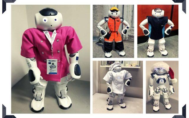 Humanoidirobotti on kuvattu kuvakollaasiin erilaisissa ammattiasuissa, lähihoitajan asu, talonrakentajan asu, siistijän asu, leipurin asuja ja tonttulakki päässä.