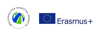 Opetushallituksen hankerahoitus logo ja Erasmus+-logo