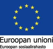 Euroopan unionin tunnus, jossa on EU lippu, jossa sinisellä pohjalla keltaiset tähdet. Alla teksti