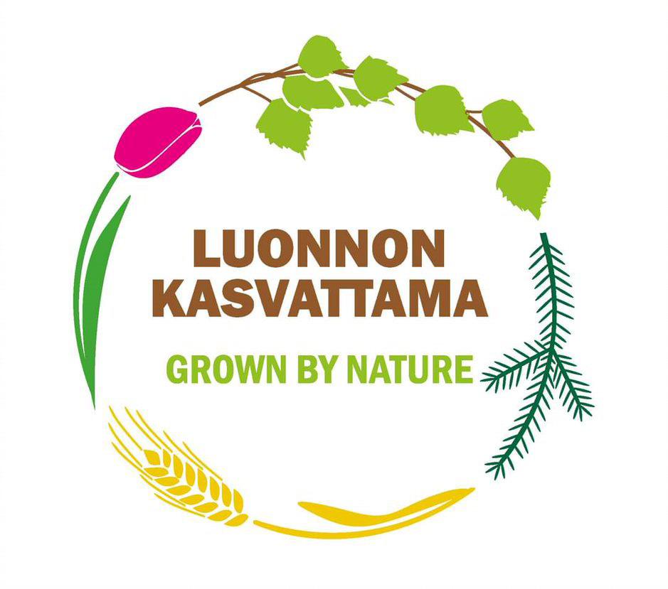 Tulppaanin kukka, koivun oksa, havun oksa ja viljan tähkä ovat kehällä ja keskellä on teksti Luonnon kasvattama, Grown by nature.
