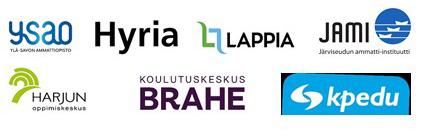 Kuvassa on kaikkien hankkeessa mukana olevien oppilaitosten logot.