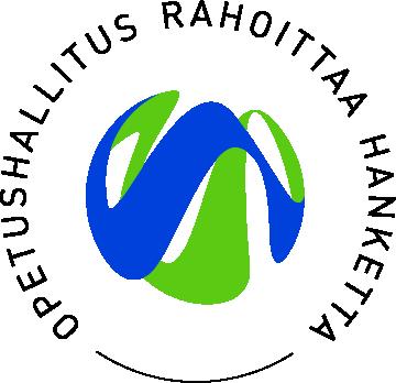 Logo jossa teksti Opetushallitus rahoittaa hanketta ja keskellä Opetushallituksen logo, jossa siniset ja vihreät aaltokuviot.