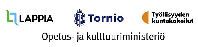Kuvassa Lappian, Tornion kaupungin ja työllissyden kuntakokeilun logot ja Opetus- ja kulttuuriministeriön tunnus.