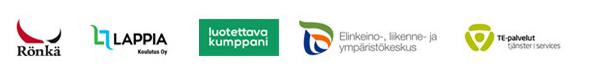 Rönkä Oy:n, Lappia-Koulutus Oy:n, luotettava kumppani, ELY-keskuksen ja TE-palvelujen logot
